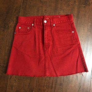 Brandy Melville Red Denim Mini Skirt